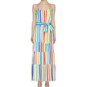 Alice + Olivia Janan Maxi Dress Rainbow Stripe